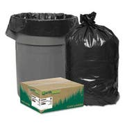 Earthsense Commercial Recycled Can Liners, 45gal, 1.65 Mil, 40 x 46, Black, 100/Carton