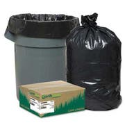 Earthsense Commercial Recycled Can Liners, 55-60gal, 1.25mil, 38 x 58, Black, 100/Carton