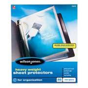 Wilson Jones Heavy Weight Sheet Protector, Non-Glare Finish, Clear, 50/Box