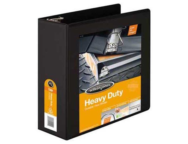 Wilson Jones Heavy-Duty D-Ring View Binder w/Extra-Durable Hinge, 4 inch Cap, Black