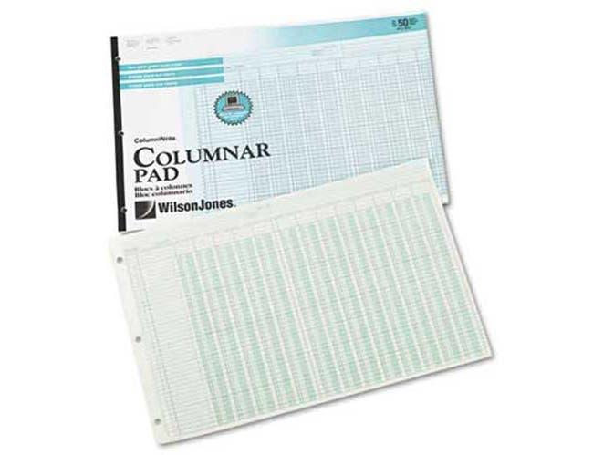 Wilson Jones Accounting Pad, 13 Eight-Unit Columns, 11 x 16 3/8, 50-Sheet Pad