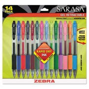 Zebra Sarasa Retractable Gel Pen, Assorted Ink, Medium, 14/Pack