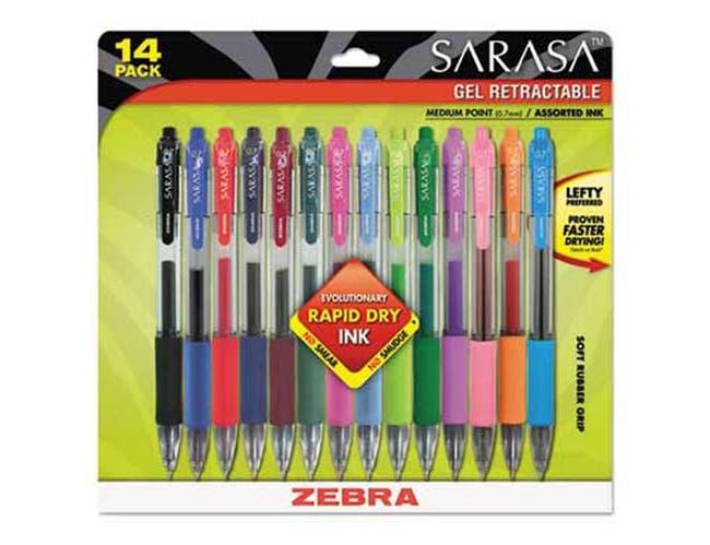Zebra Sarasa Retractable Gel Pen, Assorted Ink, Medium, 14/Pack
