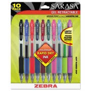 Zebra Sarasa Retractable Gel Pen, Assorted Ink, Medium, 10/Pack