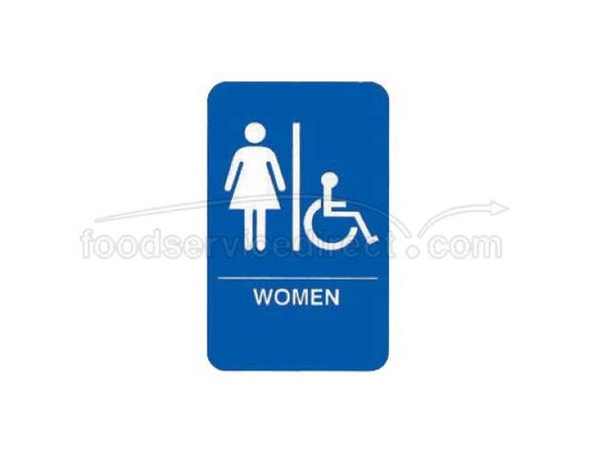 Tablecraft White On Blue Women/Accessible Braille Symbol Signage, 6 x 9 inch -- 1 each.