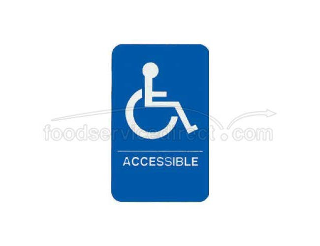 Tablecraft White On Blue Accessible Braille Symbol Signage, 6 x 9 inch -- 1 each.