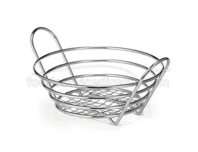 Tablecraft Heavyweight Chrome Plated Round Serving Basket, 8 x 3 1/4 inch -- 6 per case