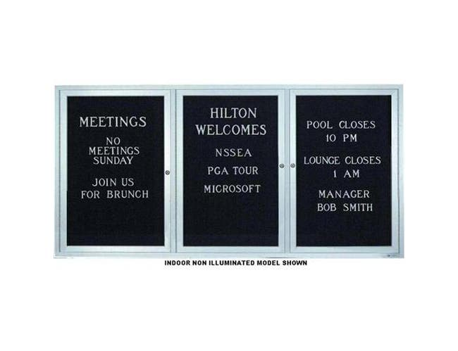 Indoor Enclosed Aluminum Frame Letterboard.3/4 inch Helvetica letter and number set included. Size: 72 inch X 36 inch -- 1 set each.