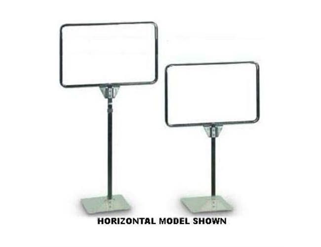 Horizontal Counter Top Stand. Metal frame with a slot provided in the top. Frame Size: 7 x 5 1/2 inch. Height: 13 1/2 inch -- 1 each.