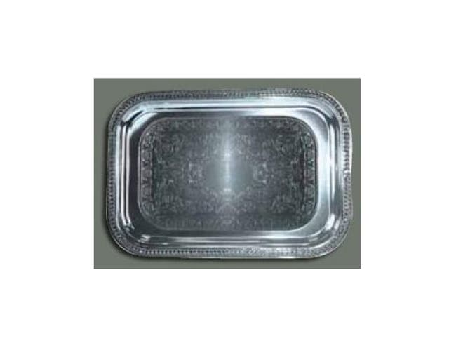Winco Chrome Plated Oblong Serving Tray, 18 x 12 1/2 inch -- 1 each.