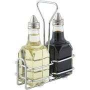 Winco 2 Square Oil Bottles with Lid and Chrome Plated Rack Set -- 12 set per case.
