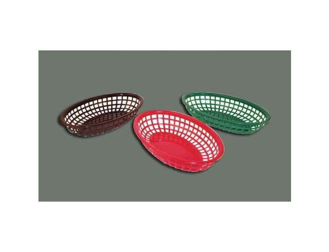 Green Winco Oval Fast Food Basket, 9 1/2 x 5 x 2 inch -- 12 per case.