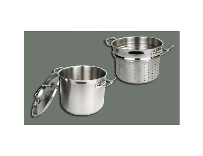 Winco Stainless Steel Perforated Steamer/Pasta Cooker with Cover, 12 Quart -- 1 set.