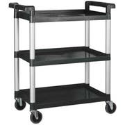 Winco Polypropylene 3 Tier Black Utility Cart, 32 x 16 1/8 x 36 3/4 inch -- 1 each.