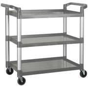 Winco Polypropylene 3 Tier Gray Utility Cart, 40 3/4 x 19 1/2 x 37 3/8 inch -- 1 each.