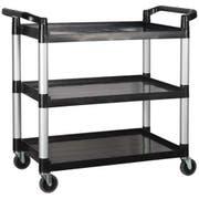 Winco Polypropylene 3 Tier Black Utility Cart, 40 3/4 x 19 1/2 x 37 3/8 inch -- 1 each.
