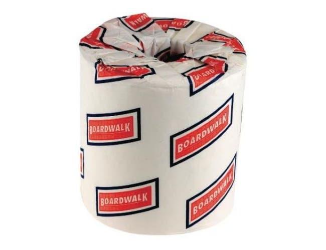 Boardwalk White 2 Ply Toilet Tissue, 4.5 x 3 inch - 500 sheets per roll -- 96 rolls per case.