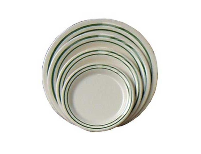 Yanco Pine Tree Melamine Green Band/Beige Round Dinner Plate, 7 1/4 inch -- 48 per case.