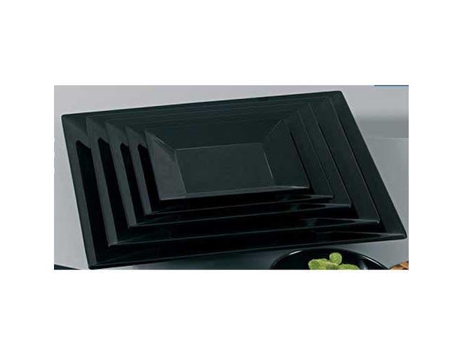Yanco Rome Melamine Square Black Plate, 6 x 6 inch -- 48 per case.