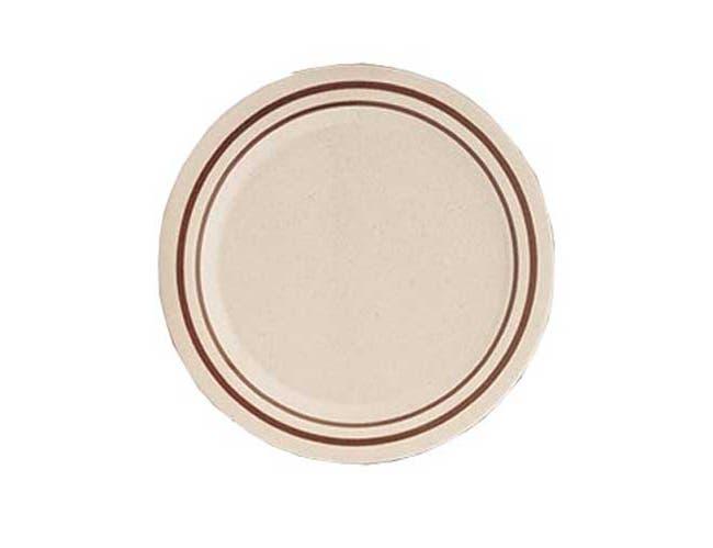 Yanco Sesame Melamine Round Brown Band/Beige Dinner Plate, 10 x 10 inch -- 24 per case.