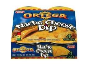 B and G Ortega Medium Nacho Cheese Dip, 4 Ounce -- 72 per case.
