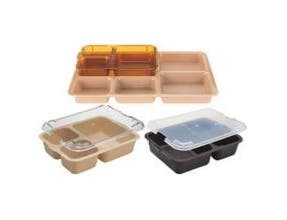 Cambro Co Polymer 3 Compartment Meal Delivery Insert Tray, Brown, 8 9/16 x 6 1/4 x 1 7/8 inch -- 24 per case.