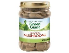 Green Giant Sliced Mushroom Vegetable, 4.5 Ounce Glass Jar -- 12 per case.