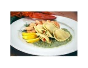 Carlas Precooked Jumbo Round Seafood Ravioli Pasta, 2.5 Pound -- 3 per case.