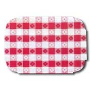 Hoffmaster 901-KDG11 Solid Red Gingham Color Bonded Placemat 9 3/4 x 14 inch, Tiffany Die Cut -- 1000 per case.