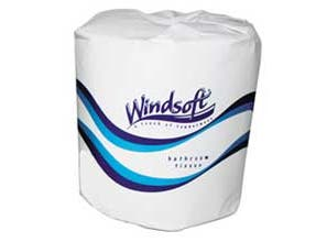 Windsoft Facial Quality Toilet Tissue - White, Soft, Absorbent, Individually Wrapped, Safe for Sewer, Septic Systems, 1 Ply, 4.5 x 4.5 inch Sheet, 1000 per roll -- 96 rolls per case.