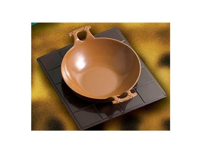 Harvest Gold Bon Chef Sandstone Serving Wok with Handle, 16 inch Diameter -- 1 each.