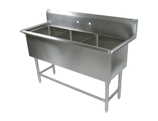 John Boos 16 Gauge Stainless Steel Three Bowl Sink without Drainboard, 59 1/8 x 29 1/2 inch -- 1 each.