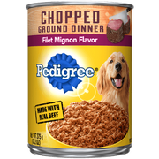 Pedigree Chopped Ground Dinner Filet Mignon Flavor Wet Dog Food, 13.2 Ounce -- 12 per case.