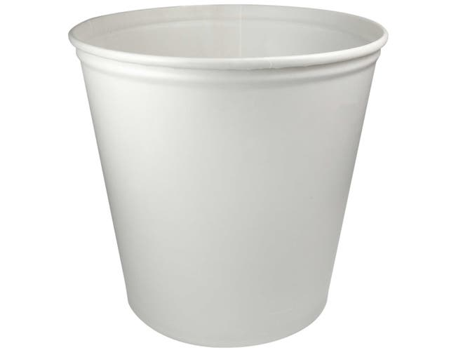 Solo White Waxed Double Wrapped Paper Bucket, 165 Ounce -- 100 per case.