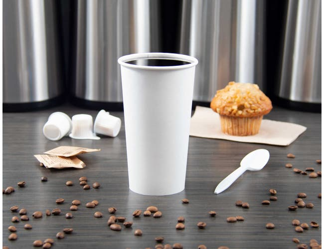 Solo White Designer Single Poly Coated Lined Paper Hot Cup, 20 Ounce -- 600 per case.