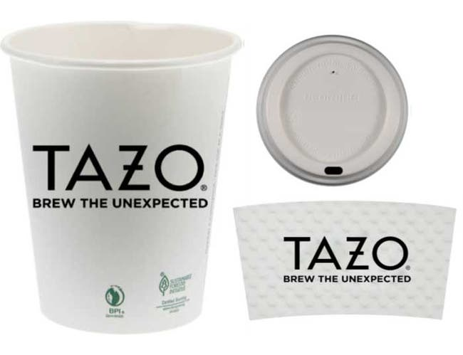 Tazo Eco-Friendly 12 oz Hot Tea Cups, Lids, and Sleeves  -- 100 per case