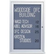 Fabric - Black (BK) Indoor Enclosed Traditional Frame Easy Tack Board with Header and 1 Door. Size: 24 inch X 36 inch -- 1 each.