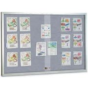 Fabric Color - Blue(BL) Enclosed Bulletin Sliding Glass Easy Tack Board, Aluminum Frame. Size: 48 inch X 36 inch -- 1 each.