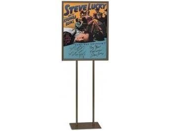 Fram Fins - Black Flat Metal Base Stand Pedestal Sign with Poster Frame. Size:14 x 22 inch -- 1 each.