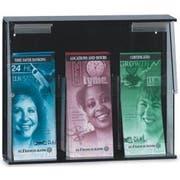 Three Pocket Pamphlet Dispenser. Pamphlet Size: 4 1/4 x 10 1/2 inch. Size: 14 1/8 x 2 7/8 x 11 3/4 inch -- 1 set each.