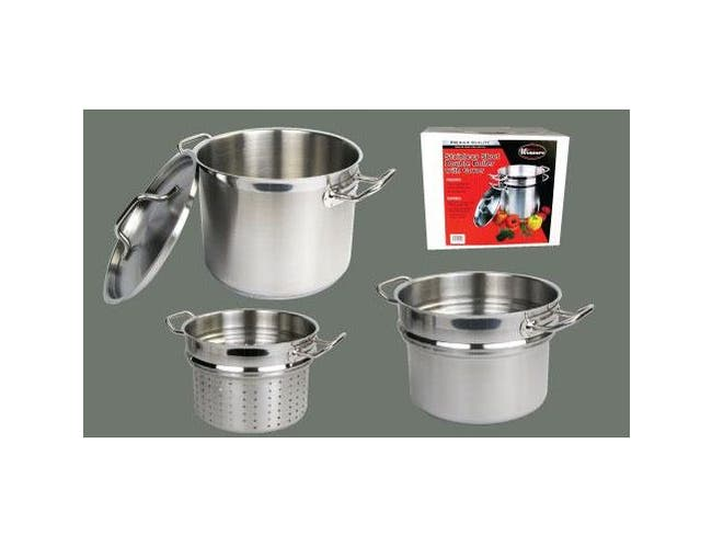 Winco Stainless Steel Perforated Steamer/Pasta Cooker with Cover, 16 Quart -- 1 set.