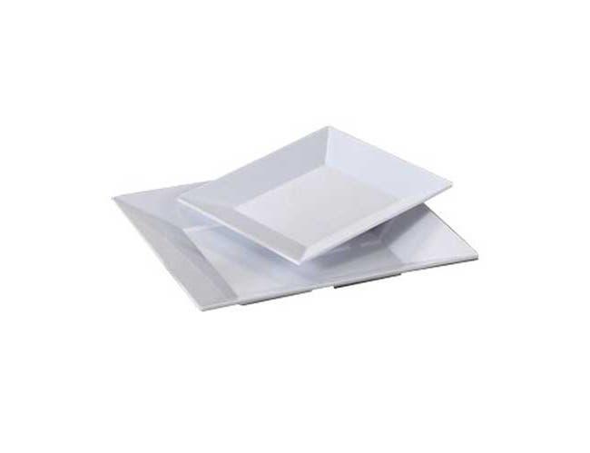 Yanco Rome Melamine Square White Plate, 6 x 6 inch -- 48 per case.